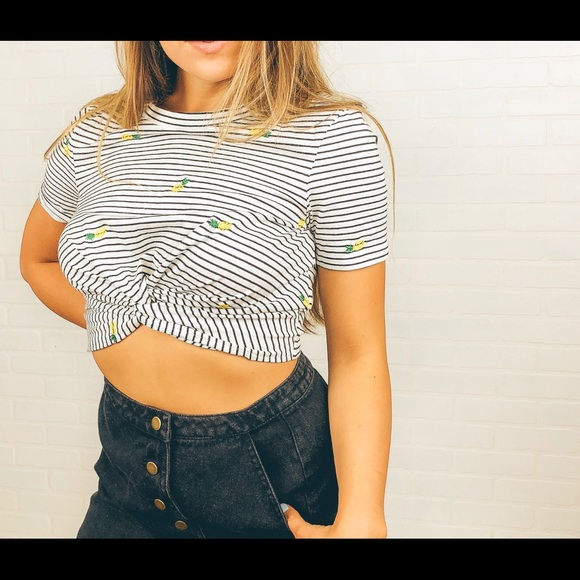 99985179241 Honey Punch Striped Pineapple Crop Top